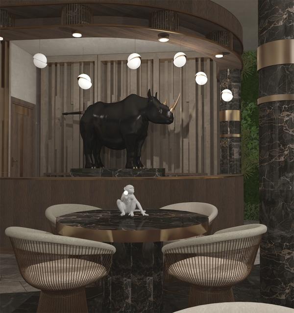 """Интерьер ресторана """"Белый Носорог"""""""